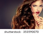 beautiful model with long curly ... | Shutterstock . vector #353590070