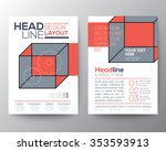 abstract isometric cube poster... | Shutterstock .eps vector #353593913