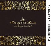golden christmas elements on... | Shutterstock . vector #353598548