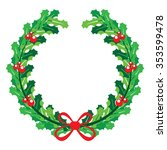 christmas wreath with red bow | Shutterstock .eps vector #353599478