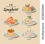 spaghetti or pasta dishes set... | Shutterstock .eps vector #353602064