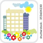 house with flowers. logo. | Shutterstock .eps vector #353604230