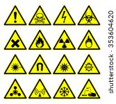 triangular warning hazard signs.... | Shutterstock .eps vector #353604620