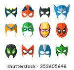 set of vector super hero masks... | Shutterstock .eps vector #353605646