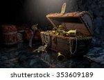 pirate's chest in a dark cave | Shutterstock . vector #353609189