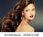 beautiful model with long curly ... | Shutterstock . vector #353611148