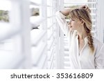 blond beautiful woman looking... | Shutterstock . vector #353616809