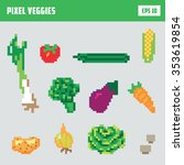 pixel vegetable game icon set | Shutterstock .eps vector #353619854