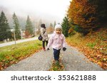 girl walking first with mother... | Shutterstock . vector #353621888