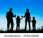 silhouette father  mother and... | Shutterstock . vector #353623868