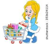 cute cartoon shopaholic girl... | Shutterstock .eps vector #353624114