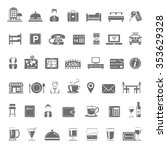 black icons   hotel and... | Shutterstock .eps vector #353629328