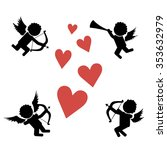 stick figure cupids. flying on... | Shutterstock .eps vector #353632979