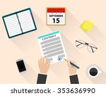 business man document signing... | Shutterstock .eps vector #353636990