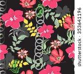 seamless  flower illustration ... | Shutterstock .eps vector #353641196