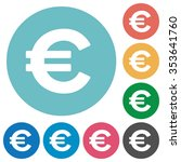 flat euro sign icon set on...