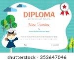 preschool kids diploma... | Shutterstock .eps vector #353647046
