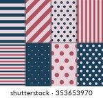 set of endless white  navy blue ... | Shutterstock .eps vector #353653970