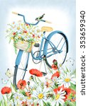 watercolor blue bicycle with... | Shutterstock . vector #353659340