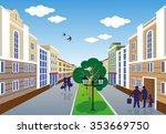 illustration of a city street... | Shutterstock .eps vector #353669750