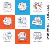 flat color icons set on theme... | Shutterstock .eps vector #353676338