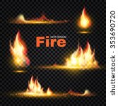realistic fire flames set.... | Shutterstock .eps vector #353690720