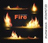 realistic fire flames set....   Shutterstock .eps vector #353690720