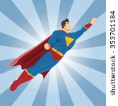 flying superhero with clenched... | Shutterstock .eps vector #353701184