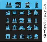 buildings  houses  icons  signs ... | Shutterstock .eps vector #353714264