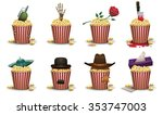 set of popcorn basket with... | Shutterstock .eps vector #353747003