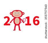 cute monkey. new year 2016. ... | Shutterstock . vector #353757560