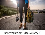 female traveler holding... | Shutterstock . vector #353786978