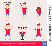 men characters workout fitness... | Shutterstock .eps vector #353794934