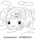 cartoon bus. vector... | Shutterstock .eps vector #353800934