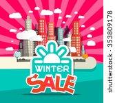 winter sale retro flat design... | Shutterstock . vector #353809178