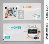 audio production and podcast ... | Shutterstock .eps vector #353811614