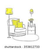 hand drawn room interior.... | Shutterstock .eps vector #353812733