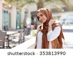 smiling girl in hijab covering... | Shutterstock . vector #353813990