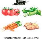 hand drawn watercolor food... | Shutterstock . vector #353818493