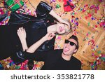 new year's party. girl and boy... | Shutterstock . vector #353821778