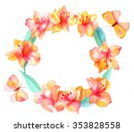 Watercolor Wreath With Peruvia...