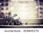 christmas decoration on  wooden ... | Shutterstock . vector #353849270