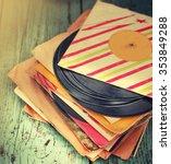 old vinyl record on rusty... | Shutterstock . vector #353849288
