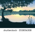 vector landscape with a lake at ...