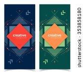 flat geometric banners design