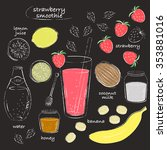 smoothie recipe drawing.... | Shutterstock .eps vector #353881016