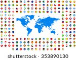 all round flags and world map... | Shutterstock .eps vector #353890130