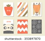 cute doodle birthday  party ... | Shutterstock .eps vector #353897870