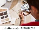 man chosing the right flooring... | Shutterstock . vector #353902790