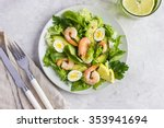 Fresh Avocado And Shrimps Sala...